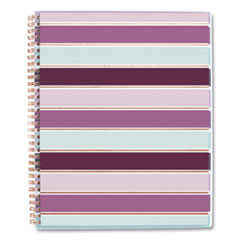Ribbon Weekly/Monthly Planner, 11 x 8.5, Burgundy/Pink/Blue/White Striped, 2021