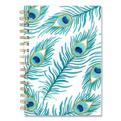 Peacock Weekly/Monthly Planner, 8.5 x 5.5, White/Green/Blue, 2021