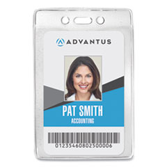 Security ID Badge Holder, Vertical, 2 5/8w x 3 7/8h, Clear, 50/Box
