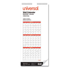 Three-Month Wall Calendar, White/Black/Red, 12 x 27, 2021