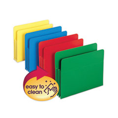 "Poly Drop Front File Pockets, 3.5"" Expansion, 4 Sections, Letter Size, Assorted, 4/Box"