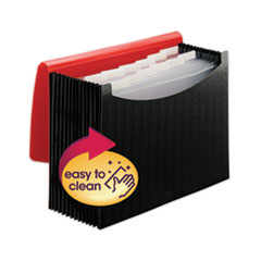 "12-Pocket Poly Expanding File, 0.88"" Expansion, 12 Sections, 1/6-Cut Tab, Letter Size, Black/Red"