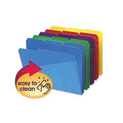 Poly Colored File Folders with Slash Pocket, 1/3-Cut Tabs, Letter Size, Assorted, 30/Box