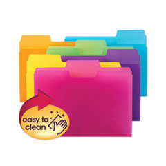 Top Tab Poly Colored File Folders, 1/3-Cut Tabs, Letter Size, Assorted, 18/Pack