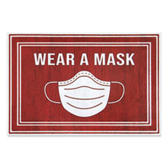 "Message Floor Mats, 24 x 36, Red/White, ""Wear A Mask"""