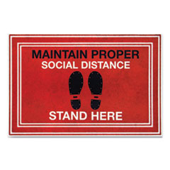 "Message Floor Mats, 24 x 36, Red/Black, ""Maintain Social Distance Stand Here"""