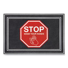 "Message Floor Mats, 24 x 36, Charcoal/Red, ""Stop Wash Your Hands"""