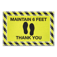 "Message Floor Mats, 24 x 36, Black/Yellow, ""Maintain 6 Feet Thank You"""