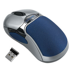 HD Precision Cordless Optical Five-Button Gel Mouse, 2.4 GHz Frequency/10.83 ft Range, Left/Right Hand Use, Blue/Silver