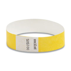 "Security Wristbands, 0.75"" x 10"", Yellow, 100/Pack"