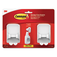 Spray Bottle Holder, 2.34 x 1.69 x 3.34, White, 2 Hangers/4 Strips/Pack