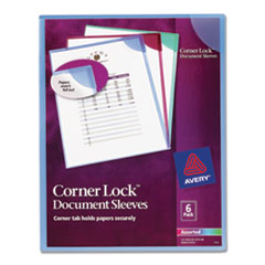 Corner Lock Document Sleeves, Letter Size, Assorted Colors, 6/Pack