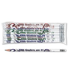 Decorated Wood Pencil, Fifth Graders Are #1, HB #2, White, Dozen