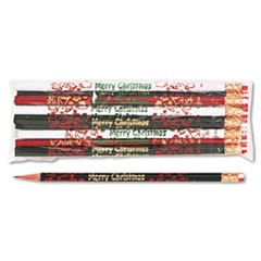 Decorated Wd Pencil, Merry Christmas, #2, BLK/GN/RD/WE Brl, Dozen