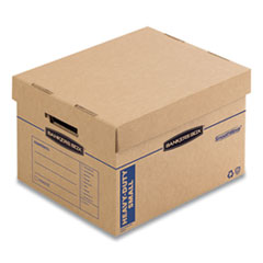 "SmoothMove Maximum Strength Moving Boxes, Small, Half Slotted Container (HSC), 15"" x 15"" x 12"", Brown Kraft/Blue, 8/Pack"