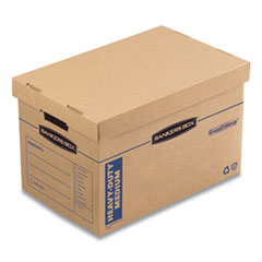 "SmoothMove Maximum Strength Moving Boxes, Medium, Half Slotted Container (HSC), 18.5"" x 12.25"" x 12"", Brown Kraft/Blue, 8/PK"