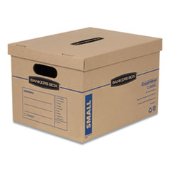 SmoothMove Classic Moving and Storage Boxes, Small, Half Slotted Container (HSC), 15 x 12 x 10, Brown Kraft/Blue, 10/Carton
