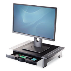 "Office Suites Standard Monitor Riser, For 21"" Monitors, 19.78"" x 14.06"" x 4"" to 6.5"", Black/Silver, Supports 80 lbs"