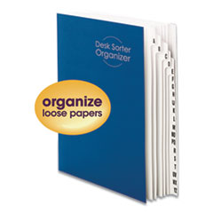 Deluxe Expandable Indexed Desk File/Sorter, Reinforced Tabs, 20 Dividers, Alpha, Letter-Size, Dark Blue Cover