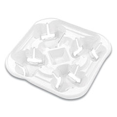 StrongHolder Molded Fiber Cup Tray, 8-22 oz, Four Cups, White, 300/Carton