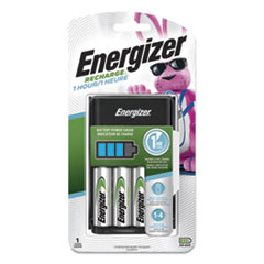 Recharge 1 Hour Charger for AA or AAA NiMH Batteries, Includes 4 AA Batteries/Charger, 3 Chargers/Carton