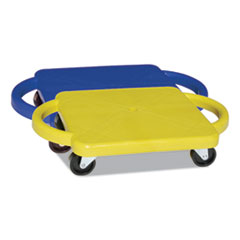 Scooter with Handles, Blue/Yellow, 4 Rubber Swivel Casters, Plastic, 12 x 12