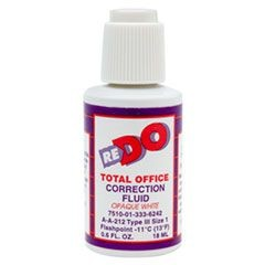 7510013336242, Re-Do Correction Fluid, 1/2 oz Bottle,White, Solvent-Based, 12/BX