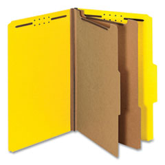 Bright Colored Pressboard Classification Folders, 2 Dividers, Legal Size, Yellow, 10/Box
