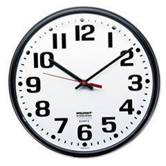 "6645013897944, Slimline Quartz Wall Clock, 12 3/4"", White Face, Black"