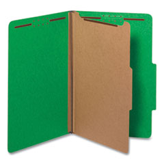 Bright Colored Pressboard Classification Folders, 1 Divider, Legal Size, Emerald Green, 10/Box