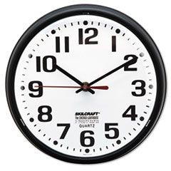"6645013897958, Slimline Quartz Wall Clock, 9 1/5"", White Face, Black"
