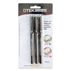 DTEK Counterfeit Detector Pens, Black, 3/Pack