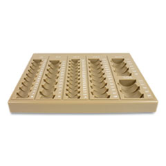 Plastic Coin Tray, 6 Compartments, 7.75 x 10 x 1.5, Tan