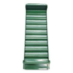 Stackable Plastic Coin Tray, Dimes, 3.75 x 11.5 x 1.5, Green, 2/Pack