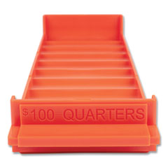 Stackable Plastic Coin Tray, Quarters, 3.75 x 11.5 x 1.5, Orange, 2/Pack