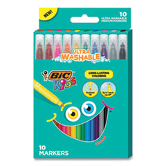 Kids Ultra Washable Markers, Medium Bullet Tip, Assorted Colors, 10/Pack