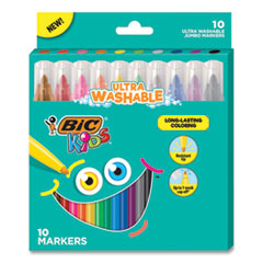 Kids Ultra Washable Jumbo Markers, Medium Bullet Tip, Assorted Colors, 10/Pack