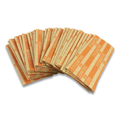 Flat Tubular Coin Wrap, Quarters, $10.00, Orange, 1,000/Box