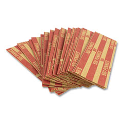 Flat Tubular Coin Wrap, Pennies, $0.50, Red, 1,000/Box