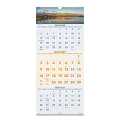 Scenic Three-Month Wall Calendar, 12 x 27, 2021