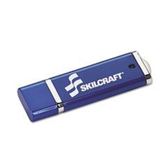 7045015584992, SKILCRAFT USB Flash Drive with 256-Bit AES Encryption, 4 GB, Blue