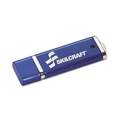 7045015584994, SKILCRAFT USB Flash Drive with 256-Bit AES Encryption, 16 GB, Blue