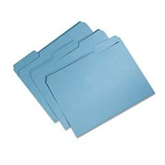 7530015664131, Recycled File Folder, 1/3 Cut, Single Ply, Letter, Blue, 100/Box