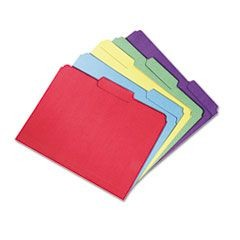 7530015664143, Recycled Folders, 1/3 Cut, Double Ply, Letter, Assorted, 100/Box