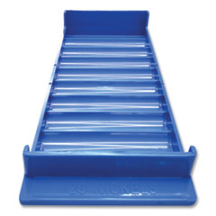 Stackable Plastic Coin Tray, Nickels, 10 Compartments, Blue, 2/Pack