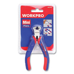 "Mini End-Cutting Pliers, 5"" Long, Ni-Fe-Coated Drop-Forged Carbon Steel, Blue/Red Soft-Grip Handle"
