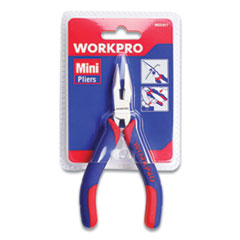 "Mini Long Nose Pliers, 5"" Long, Ni-Fe-Coated Drop-Forged Carbon Steel, Blue/Red Soft-Grip Handle"