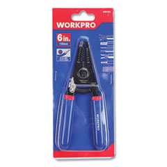 "Tapered Nose Spring-Loaded Wire Strippers, 22 to 10 AWG (0.6 to 2.6 mm), 6"" Long, Metal, Blue/Red Soft-Grip Handle"