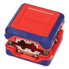 "Compact Box-Style Wire Stripper, 1.18"" Plastic Square Box, Steel-Ribbon Blade, Red/Blue"