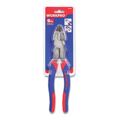 "Linesman Pliers, 9"" Long, Ni-Fe-Coated Drop-Forged Carbon Steel, Blue/Red Soft-Grip Handle"
